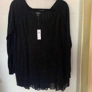 TORRID BLACK SWEATER WITH TULLE BACK